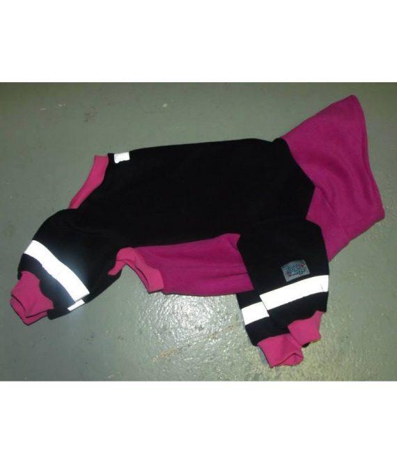 Haalari korkealla kauluksella, musta-pinkki copy